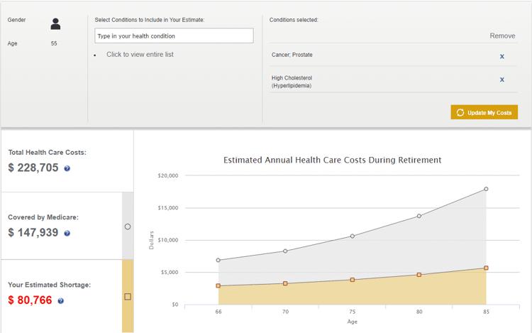 health care cost estimate in retirement